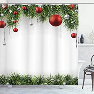 Ambesonne Christmas Shower Curtain, Cloth Fabric Bathroom Decor Set with Hooks, Baubles Pine Tree, 70