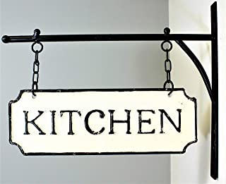 Silvercloud Trading Co. Rustic Hanging Double-Sided Kitchen Embossed Black on White Enamel Metal Sign with Bracket - Restaurant Wall Decor - Room Label