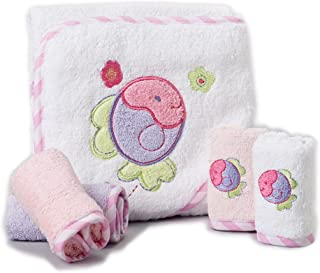 Spasilk 100% Cotton Hooded Terry Bath Towel with 4 Washcloths, Pink