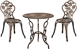 casa.pro Set de Bistro Kit de Bistro Vintage Ensemble de Table et de Chaises de Jardin Fonte Bronze Brillant