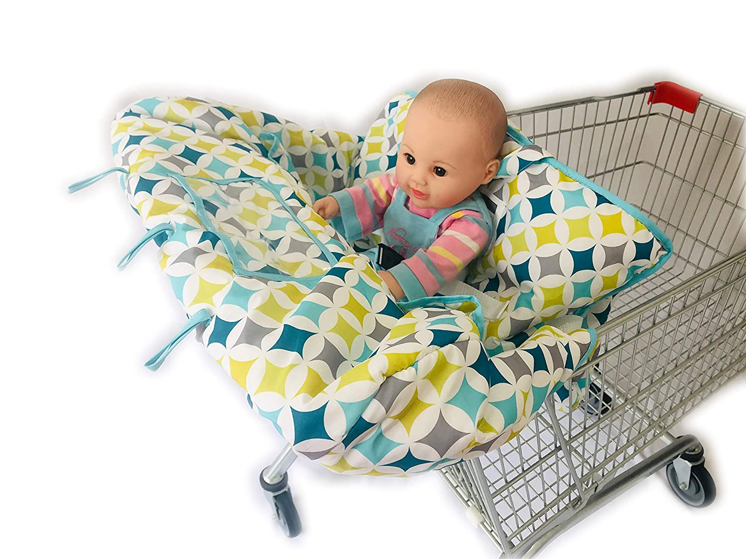 4 Legs Holes Double Babies Shopping Cart Cover for Twin or Baby Siblings. X-Large Size That was Guaranteed to Fit Wholesale Warehouse Grocery Stores (Green 4 or 2 Holes)