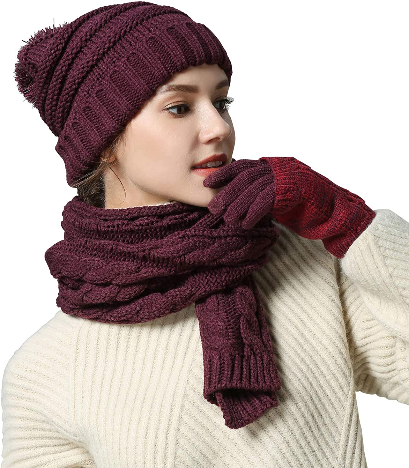 Women Scarf Gloves Hat Set, Pom Beanie Touch Screen Gloves Long Scarf Soft Warm Thick Cable Knit 3PCS Cold Weather Winter Set