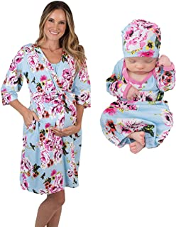Baby Be Mine Mommy & Me Delivery Robe with Matching Baby Receiving Gown & Hat Set