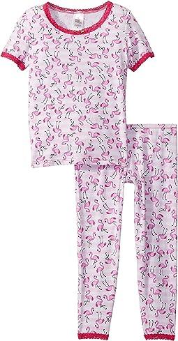 Flamingo Stripe/Fuchsia Lace