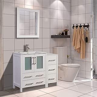 Vanity Art 36 inch Single Sink Modern Bathroom Vanity Combo Set 1 Side Cabinet 1 Shelf Ceramic Top Bathroom Cabinet with Free Mirror (White) - VA3024-36-W