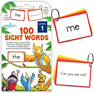 eeBoo 100 Sight Words Flash Cards, Level 1