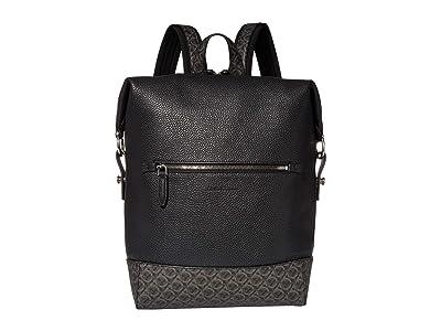 Salvatore Ferragamo Dynamo Gancio Backpack 24A339 (Black) Backpack Bags