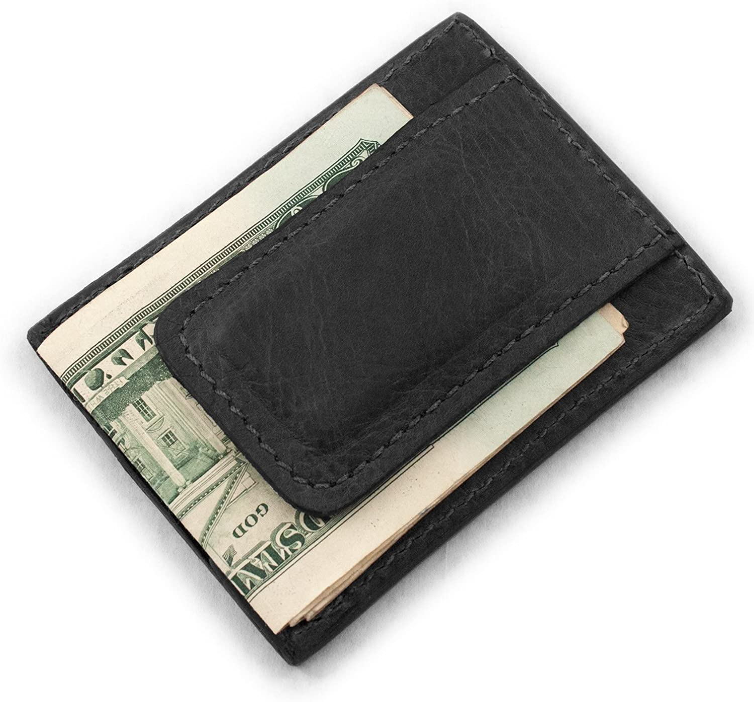 Genuine Bison Buffalo Leather Magnetic Money Clip 3 Card Wallet