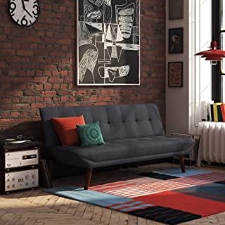 REALROOMS Adley Small Space Convertible Modern Futon Couch Lounger, Navy Blue Linen