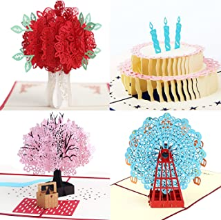 3D Pop Up Greeting Cards 4 Pack Assortment By Aloha Cards | For Birthdays, Thank Yous, All Occasions / Wow Your Loved Ones / Individually Packaged with Envelope and Protective Bag