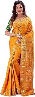 SareesofBengal Women's Katan Silk Meenakari Baluchari/Swarnachari Saree Mustard Yellow