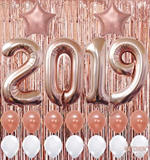 2020 Balloons, Rose Gold for New-Year, Rose Gold Metallic Foil Fringe Backdrop | Rose Gold Balloons | New Years Eve Party Supplies 2020, Graduations Party Supplies 2020, New Years Party Decorations