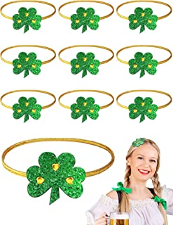 10 Pieces St. Patrick's Day Shamrock Irish Green Hairband Adjustable Elastic clover headban Sparkly Hair Bands No Slip Headbands for Women Hair Accessories