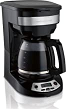 Hamilton Beach 12 Cup Programmable Coffee Maker, Brew Options, Glass Carafe (46299), Black with Stainless Accents