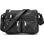 Lecxci Women's Large Soft Leather Multi-Purpose Crossbody Handbag Shoulder Travel Bags Purses for...