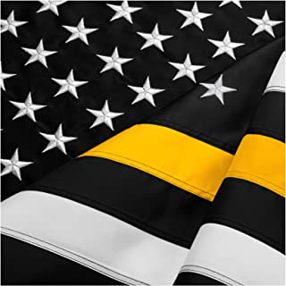 FBNC Thin Yellow Line Flag 3x5 Ft: Durable Nylon with Embroidered Stars and Brass Grommets - Proud to be a Loss Prevention Officer