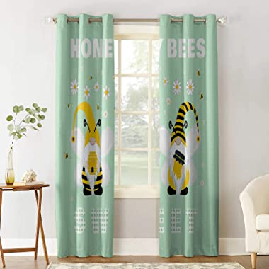 Z&L Home Cartoon Cute Gnome with Farm Bee Flower Daisy Bedroom Blackout Window Curtain Panels Animal Thermal Insulated Ro