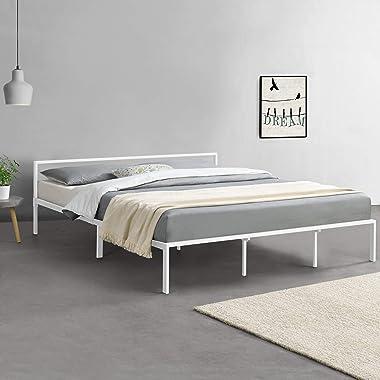 Cadre de Lit en Métal Solide Lattes Métalliques Robustes Lit Double Acier Laqué 180 x 200 cm Blanc Mat