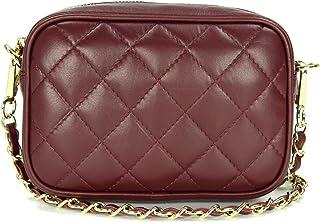 Belli italienische Echt Nappa Leder Abendtasche Damentasche kleine Umhängetasche zum Ausgehen gesteppt - 18x13x7 cm B x H x T