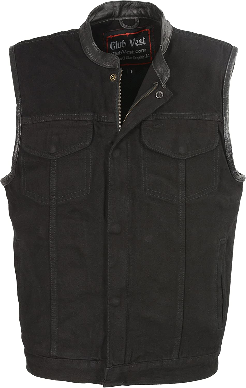 Club Vest Men's Concealed Snap Denim with Hidden Zipper with Leather Trim (Black, XX- Large)