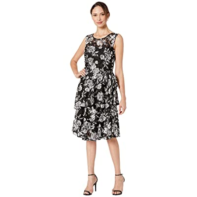 Tahari by ASL Puff Print Sleeveless Lace Dress with Side Tie and Tiered Skirt Detail (Rose Garden Black) Women