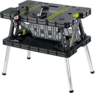 Keter Compact Portable Folding Garage Workbench Work Table with Clamps, Green
