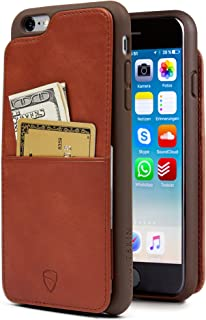 Vaultskin Eton Armour iPhone case with Leather Wallet (Cognac, iPhone 6 Plus)