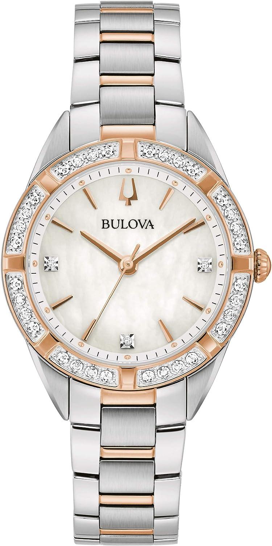 Bulova Reloj Analógico para Mujer de Cuarzo con Correa en Acero Inoxidable 98R281