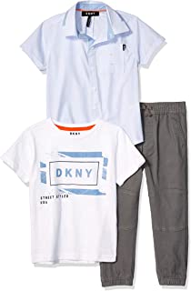 DKNY Boys' Little Short Sleeve Woven, T-Shirt, and Pull-On Pant