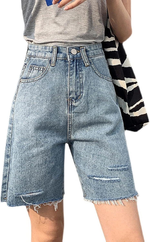 Women's Retro Denim Shorts Fashion Loose Washed Simplicity Ripped Frayed