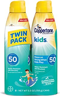 Coppertone KIDS Sunscreen Continuous Spray SPF 50, 5.5 Ounce, Pack of 2(Packaging may vary)