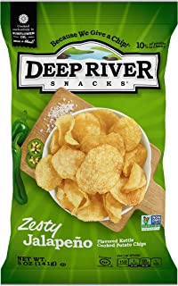 Deep River Snacks Zesty Jalapeno Kettle Cooked Potato Chips, 5-Ounce (Pack of 12)