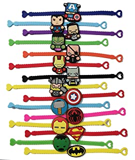 15 Pack Superhero Rubber Bracelets Wristband Bracelets for Birthday Party Supplies Favors Prize Rewards