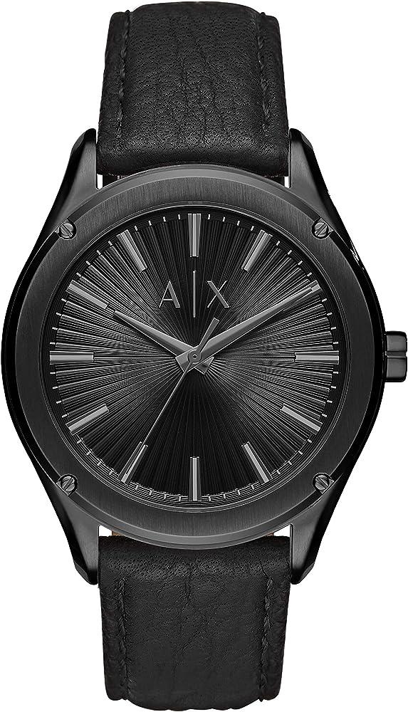 Armani exchange orologio per uomo in acciaio inossidabile e cinturino in pelle AX2805