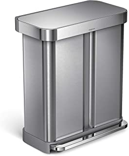 simplehuman 58 Liter / 15.3 Gallon Stainless Steel Dual Compartment Rectangular Kitchen Step Trash Can Recycler with Liner Pocket, Brushed Stainless Steel.