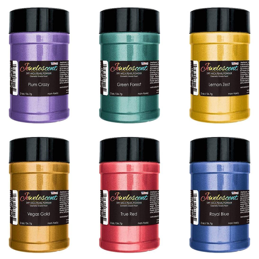 U.S. Art Supply Jewelescent Basic 6 Color Mica Pearl Powder Pigment Set Kit, 2 oz (57g) Shaker Bottles - Cosmetic Grade, Non-Toxic Metallic Color Dye - Paint, Epoxy, Resin, Soap, Slime Making, Art