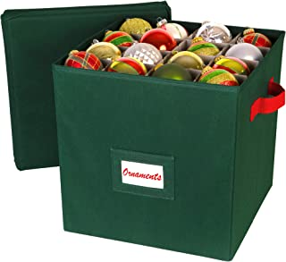 Christmas Ornament Storage Container - Stores up to 64 Holiday Ornaments - Adjustable Compartments to Fit All Your Xmas Decoration Needs - with Removable Cover and Convenient Carry Handles