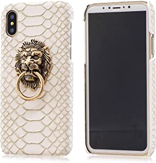 BONTOUJOUR iPhone XS Max Case, Creative Chinese Noble Lion Head Door Style Phone Case with Ring Phone Holder at Back, Ultra Slim Strong Protection -White