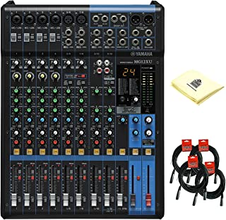 Yamaha MG12XU 12 Channel Analog Mixer with 6 Microphone Preamps, 4 Dedicated Stereo Line Channels, 2 Aux Sends, EQ, 1-knob Compressors, Digital Effects with 4 Mixer Cable and Zorro Sounds Mixer Cloth
