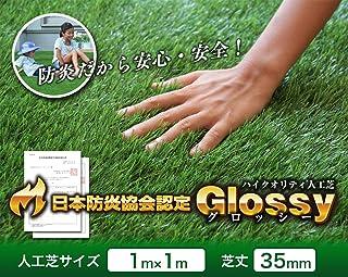 人工芝 ロール 1m×1m 芝丈35mm 「 grossy 」 (#9831334) 防炎 芝生 ガーデニング DIY 工作 芝生 アウトドア