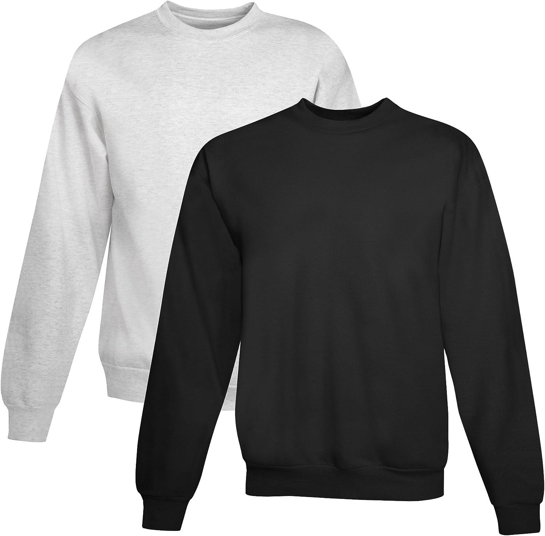 Hanes mens 7.8 oz. ComfortBlend EcoSmart 50/50 Fleece Crew(P1607)-ASH/BLACK-3XL
