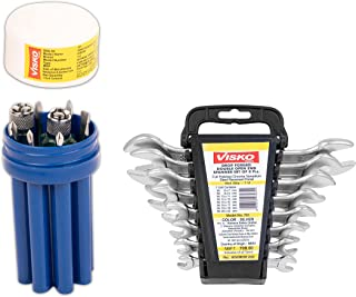 Visko Tools 111 8 Blades Combination Screwdriver Set with Tester (Blue and White,9-Pieces) and 701 Doe Spanner Set (Silve...