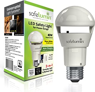 safelumin SA19-450U27 LED Emergency Light Bulbs for Home Safety during a Power Outage or Power Failure, Bat...