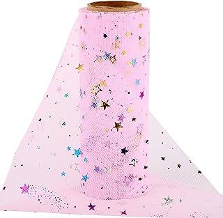 10Yards x 15cm Rouleau de Tulle Pailleté Organza Etoile Chemin de Table Ruban de Tulle Bobine Tulle DIY Bricolage pour Déc...