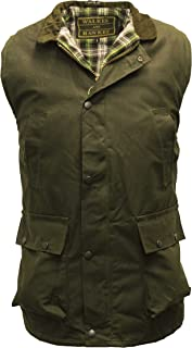 Walker and Hawkes Men's Wax Bodywarmer Waistcoat Countrywear Gilet Olive