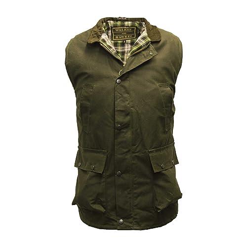 812ec6c5103 Walker   Hawkes - Mens Wax Bodywarmer Waistcoat Countrywear Gilet - Olive