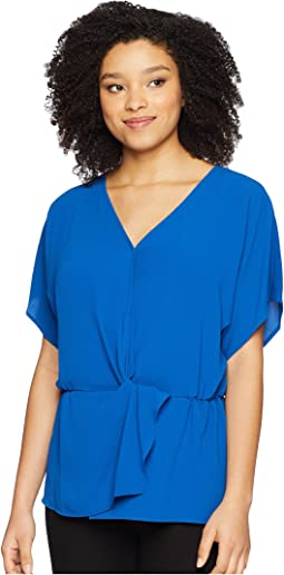 Drop Shoulder Wrap Front Cinch Waist Blouse