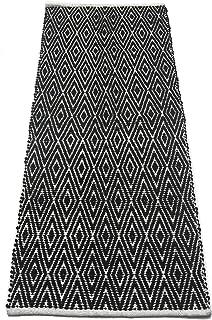 Diamond Pattern Cotton Chenille Rug Runner, Black And White