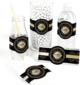 Big Dot of Happiness Roaring 20's - DIY Party Supplies - 1920s Art Deco Jazz Party DIY Wrapper Favors & Decorations - Set of 15