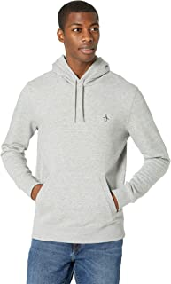 ORIGINAL PENGUIN Men's Standard Sticker Pete Long Sleeve Pullover Hoodie Shirt, Rain Heather, Small